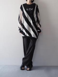 Knit cardigan【ANN DEMEULEMEESTER】T-shirt【BLACK SCORE】Pants【provoke】Pierce【Présenté par Va-tout】